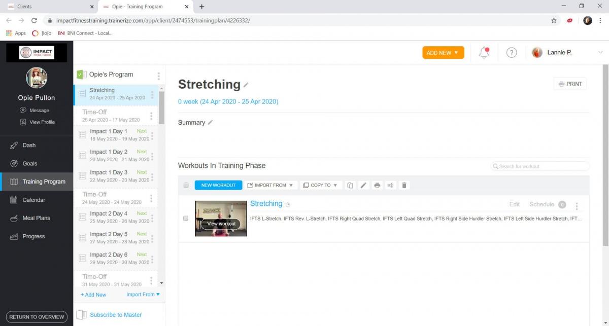 Impact Fitness Bloomington - Online Personal Training App 2