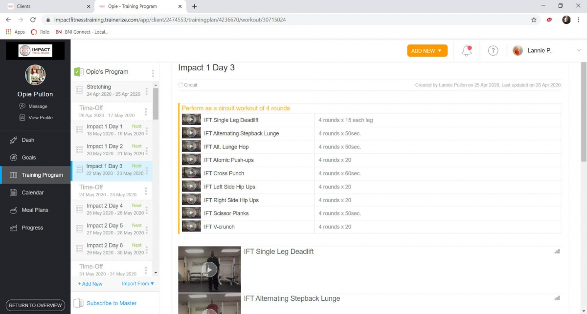 Impact Fitness Bloomington - Online Personal Training App 4